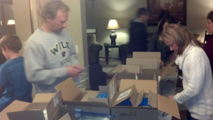 Volunteers packing pc kits 2014